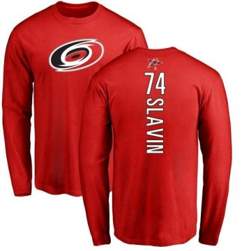 Men's Jaccob Slavin Carolina Hurricanes Backer Long Sleeve T-Shirt - Red