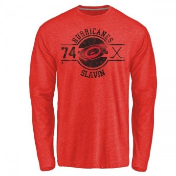 Men's Jaccob Slavin Carolina Hurricanes Insignia Tri-Blend Long Sleeve T-Shirt - Red