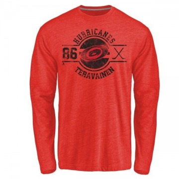 Men's Teuvo Teravainen Carolina Hurricanes Insignia Tri-Blend Long Sleeve T-Shirt - Red