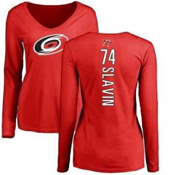 Women's Jaccob Slavin Carolina Hurricanes Backer Long Sleeve T-Shirt - Red