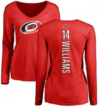 Women's Justin Williams Carolina Hurricanes Backer Long Sleeve T-Shirt - Red