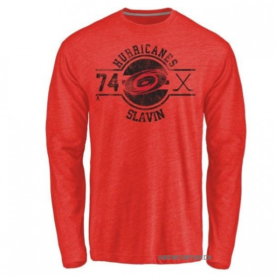 Youth Jaccob Slavin Carolina Hurricanes Insignia Tri-Blend Long Sleeve T-Shirt - Red